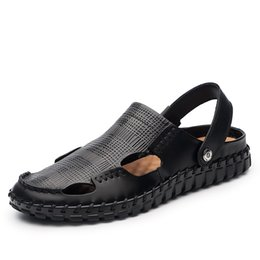Wholesale Shoe Sandals For Men - New Arrival Soft Leather Beach Sandals for Men Handmade Genuine Leather Summer Casual Shoes Male Retro Sewing Classics Slippers CD831