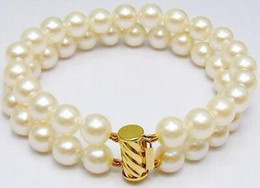 """Wholesale Gold Plated Natural Pearl Bracelet - 2 Rows 11-10mm Natural Akoya SOUTH SEA White Pearl Bracelet 9-8"""" 14k"""