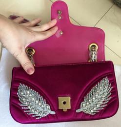 Wholesale Crystal Interior - 207 HOT Women's Shoulder Bags Fashion Top quality velvet Hearts bag Luxury brand Crystal drill messenger bag