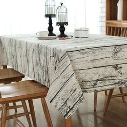 Wholesale Square Table Cloths - Wood Grain Tablecloth Cotton Linen Rectangle Table Cloth For Table Retro Cover Table Linen Customizable Free Shipping