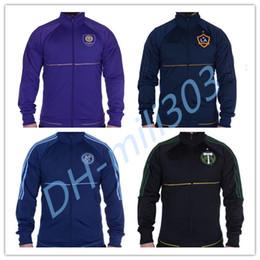 Wholesale america long - Top quality 2017 2018 America cougar new York long sleeve soccer jackets city17 18 adult coat men outdoor football hoodies LA galaxy sports