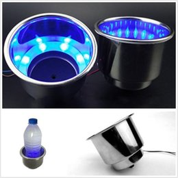 Wholesale Boat Cup Holders - 2017 NEW 12V Hot LED Blue 8LED Stainless Steel Cup Drink Holder For Marine Boat Car Truck Free shipping MYY