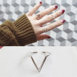 Wholesale V Ring Size - 925 Sterling Silver Geometric Triangle Open Rings For Women Fashion Lady Sterling-Silver-Jewelry V -Shape Ring Wedding Rings