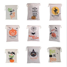 Wholesale Spider Backpack - Hot Sale 9 Style Halloween Large Canvas Bags Cotton Drawstring Bag With Pumpkin Devil Spider Hallowmas Gifts Sack Bags Backpacks 36*48cm