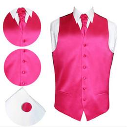 Wholesale men satin waistcoat - Wholesale- 2017 New Male Slim Dress Pure Color Vest Satin Wedding Waistcoat Casual Sleeveless Homme 8 Colors Attached Tie Cufflink