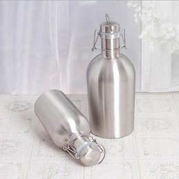 Wholesale Whisky Hip Flask - Portable Hip Flasks 32oz Growler Stainless Steel Beer Bottle Whisky Alcohol Wine Hip Flask Single Wall Drinking Party Flagon CCA6623 50pcs