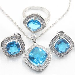 Wholesale Ring Amethyst 925 - Elegant silver 925 sky blue topaz for ms bride wedding jewelry set crystal necklace, earring, ring, pendant