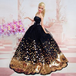 Wholesale Amazing Birthday - Amazing Black Dress with Lots of Gold Sequins Made to Fit for the Barbie Doll Great Children Gift Birthday Dress for Barbie doll