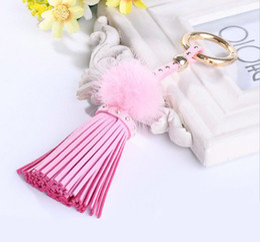 Wholesale Mink Car - Mink hair ball car key chain pu leather tassel key chain bag pendant fashion female jewelry small gift wholesale