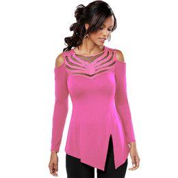 Wholesale T Shirt Yarn Wholesale - Wholesale- New 2017 Splice Hollow Yarn Women T-shirts 2281 Casual O-neck Strapless Black Long Sleeve Female Clothing