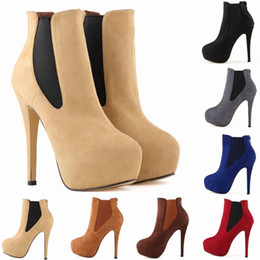 Wholesale Womens High Heels Size 11 - Chaussure Femme Zapatos Mujer Platform Faux Velvet Suede High Heels Womens Casual Ankle Boots US Size 4-11 D0062