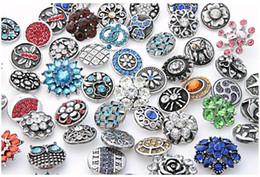 ganchos de botão antigo Desconto Moda 18mm Snap Botões Com Strass Cristal Fechos de Metal DIY Noosa pedaços Acessórios Jóias Mix Estilos 50 pcs