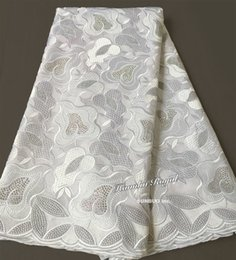 Wholesale African Swiss Voile Lace White - Plain white African Swiss lace voile fabric cotton 100% no holes suitable for men large quantity of stones shine high quality 5 yards