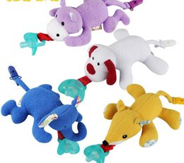 Wholesale Toy Pacifiers - 2017 new baby pacifier baby hanging animal plush toy silicone pacifier a variety of colors optional