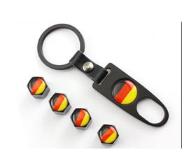 Wholesale Mini Car Flags - Car accessories New Hot Sale Car Wheel Tire Valve Caps with Mini Wrench & Keychain logo German flag for AudiA4L A6L Q5 A1 A3 A5 (4-Piece set