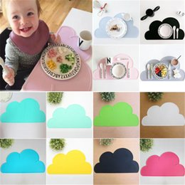 Wholesale Modern Dinnerware - Wholesale- 2016 New 48*27cm Silicone cloud Placemat Heat Resistant Mat with 3 color Children Dinnerware Kitchen Accessories