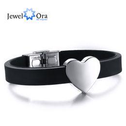 Wholesale Simple Heart Bangle - Wholesale-Simple Style Black Silicone Heart Stainless Steel Men Bracelet & Bangle 22cm Trendy Men Wrist Bracelet (JewelOra BA101413)