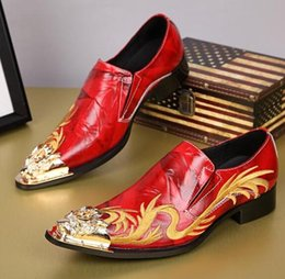 Wholesale Shoes Europe Men - Europe United States fashion men 's shoes hair stylist Pointed toes dragon embroidery men' s leather shoes leather casual Red marry shoes