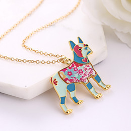 Wholesale Jewelry Collars For Dogs - Maxi Alloy Enamel Pug Dog Butterfly Necklace Chain Pendant 2016 News Fashion Jewelry For Women Statement Charm Collar NE778
