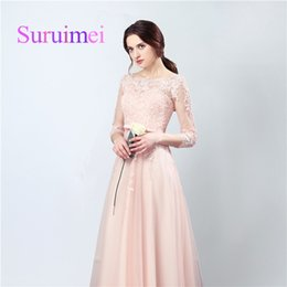Wholesale Evenning Dresses Black - Free Shipping Spring Summer Evenning Long Dresses Scoop Zipper With Appliqued Lace Sash Pleats And Sweep Train Prom Gowns