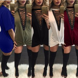 Wholesale Women Nightclub Shirts - 12 Colors Women Short Sleeve Dress Women Deep V-neck Casual Solid Color Bandage Dress Sexy Nightclub Fashion Gas Eyes Cotton T Shirt Dress