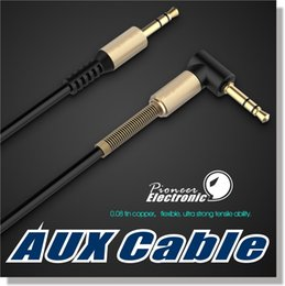 Wholesale Aux Audio Cable Gold - 3.5mm Auxiliary Audio Cable Cord Flat 90 Degree Right AUX Cable with Steel Spring Relief for Headphones iPods iPhones Home Car Stereos