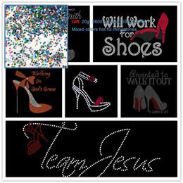 Wholesale hotfix transfers - 2pcs Walking By Faith Team Jesus High Heels Will Work For Shoes Hotfix Rhinestone Iron On Transfers Hot fix Applique