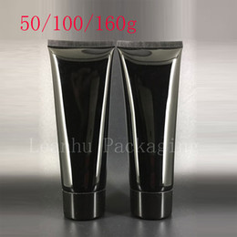Wholesale Black Cosmetic Containers - 50g 100g 160g Empty Black Soft Squeeze Cosmetic Packaging Refillable Plastic Lotion Cream Tube Screw Lids Bottle Container
