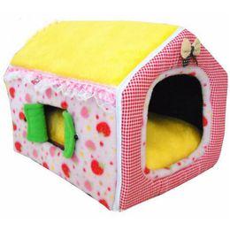 ropa de cama de estilo princesa rosa Rebajas Cama de rosa / amarillo del color de la princesa del estilo de casa del animal doméstico del perro de la perrera suave invierno Uso gato Aplicación para mascotas