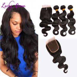 Onda peruana del cuerpo del pelo de la Virgen con los paquetes del cierre 8A Hair Company con el cierre armadura corta del pelo humano con el cierre del cordón desde fabricantes