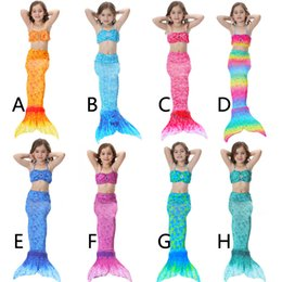 Wholesale swim dress girls - 2017 Kids Girls Mermaid Tail Swimming Suit With Monofin Little Mermaid Tails Children Swimmable Swimsuit With Bikini Fancy Dress
