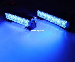 Wholesale Led Emergency Police Strobe Lights - 12 LED strobe light car warning flashlight led light bar emergency police firemen lights lamp blue