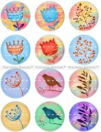 Wholesale Flower Birds - NOOSA Ginger Snap Jewelry 18mm Glass Snap Charms Button Flower Tree Bird Series Colorful Mixed 20pcs lot Wholesale VOCHENG Vn-1809
