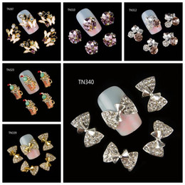 Wholesale Glitter Butterflies Decorations - Wholesale- 10Pcs Pack(1pack=1style)3D Nail Decorations Luxury Butterfly Bow Beverages Beer Cup DIY Glitter Rhinestones For Nails Art Tools