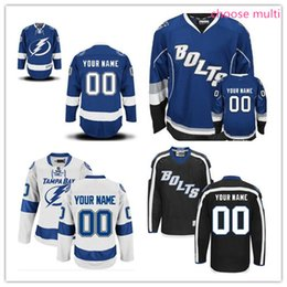 Wholesale Stitched Custom Tampa Bay Lightning mens womens youth Away Home White royal Blue Black Third ice Hockey cheap kids BOLTS Jerseys size S XL