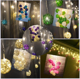 Wholesale Patio Twinkle Lights - Curtain Lights 4M*0.3 0.4 0.5m 96leds Multicolor Handmade Rattan Balls String Fairy Party Patio Decor Party Night Twinkle bulb