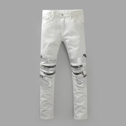 Wholesale Tight Cropped Jeans - New Fashion Distressed patches Biker Cargo Jeans stretch Demin jeans Hiphop Cropped Pants with Extreme ripped Straight Tight For Men