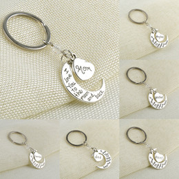Wholesale Love Moon Back - Hot love keyring keychains I Love You To The Moon and Back pendant key rings moon heart charms key chains gifts
