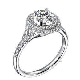 Wholesale White Gold Filigree - Filigree Jewelry Confessions Rings 1Ct Brilliant Synthetic Diamond Wedding Female Ring Solid 925 Sterling Silver Ring White Gold Plated