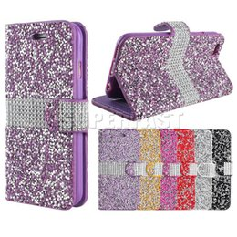 Wholesale crystal diamond leather case iphone - Diamond Luxury Wallet Case For iPhone 8 7 Plus Bling Glitter Crystal Cover Case For Samsung S8 S8 Plus J7 2017 LG Stylo 3