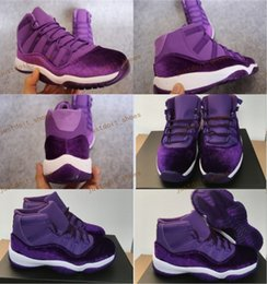 Wholesale Girls Cheap Patent Shoes - Hot Air Retro 11 XI Purple Velvet Heiress 2017 New Men Women Girl Basketball Sport Shoes Wholesale Sneakers Size 5.5 13 Cheap