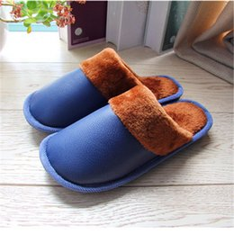 Wholesale Ladies Canvas Shoes Wholesale - Wholesale-Women Men Winter Warm Home PU Leather Slipper Ladies Male Waterproof Antiskid Household Floor Slippers Thick Plush Soft Shoe