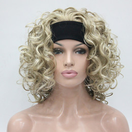 Wholesale Hot Sexy Blondes - HIVISION Hot super sexy Light Blonde mix 3 4 wig with headband Medium curly women's half wig