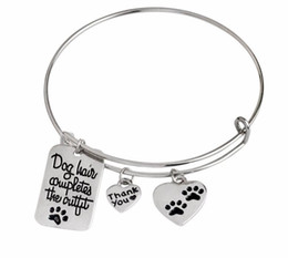 Wholesale Dog Christmas Outfits - 12Pcs Lot Dog hair completes the outfit Charm Bracelets Mental Health Awareness Jewelry Bracelets 2017 Jewelry