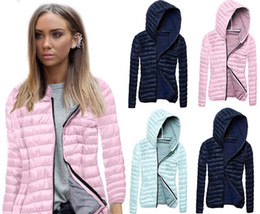 Wholesale Parka Jacket Girls - 2017 Autumn Winter Women Casual Long Sleeve Silm Hooded Cotton Down Parkas for Girls Light Weight Outwear Jacket Coat