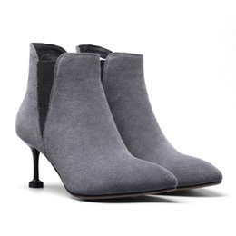 Wholesale Pull Boots - Ankle boots women pointed toes stiletto heel classic Chelsea bootie with pull tab to help make slipping it on a breeze