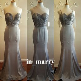 Wholesale Winter Grey Wedding Gowns - Plus Size Grey Mermaid Country Bridesmaids Dresses 2017 Mix Style Pearls Sequined Long Satin Cheap Wedding Prom Party Gowns Maid of Honors
