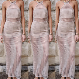 Wholesale Cheap Womens Sexy Dresses - 2017 summer womens sexy full length hollow out fish net dresses halterneck backless cheap price brand fashion design free shipping hot sale