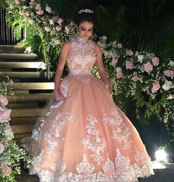 Wholesale Custom Design Quinceanera Dresses - buy Colorful Appliques Prom Dress 2017 Latest Design Crystal High Neck Lace Tulle Floor Length Ball Gown Party Quinceanera Dresses
