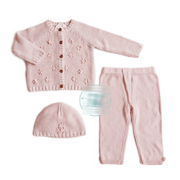 Wholesale Boys Knitted Tops - 2017 Ins Hot Knitted Romper Newborn Baby Girl Boy Suits hat+top+pant INS Knit suit Kids clothing Sets